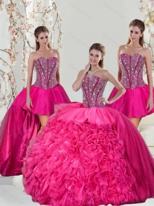 2015 Detachable Hot Pink Sweet 15 Dresses with Beading and Ruffles