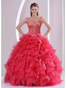 2015 Unique and Detachable Beading and Ruffles Quince Dresses in Red