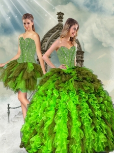 Detachable Beading and Ruffles Multi Color Dresses for Quince