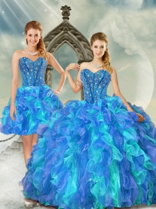 Detachable Beading and Ruffles Multi Color Quinceanera Dresses for 2015