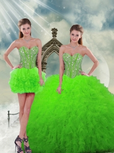 Detachable Beading and Ruffles Spring Green Dresses For Quinceanera