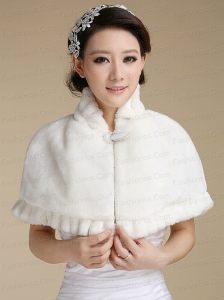 Elegant Faux Fur 2015 Shawl With Button Front Closure