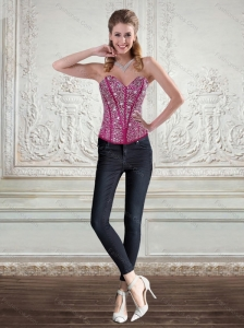 2015 Cute Sweetheart Fuchsia Corset with Beading