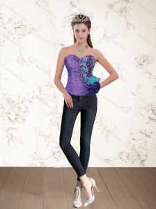 2015 Popular Beaded Multi Color Corset with Hand Made Flower