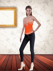 Gorgeous Sweetheart Orange Corset with Ruffles and Beading