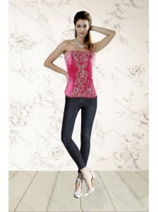 2015 Modest Beading Corset in Hot Pink
