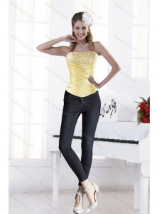 Yellow Strapless Elegant Beading Corset for 2015