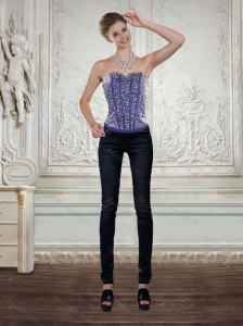 Elegant Beading Corset in Royal Bule