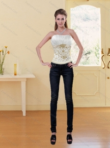 Popular Embroidery White and Gold Corset