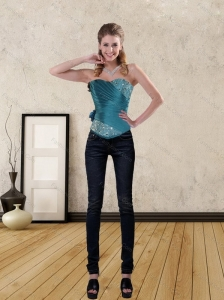 Teal Sweetheart Corset with Beading and Lace up for 2015