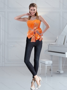 2015 Cute Orange Sweetheart Corset with Ruffles and Bowknot