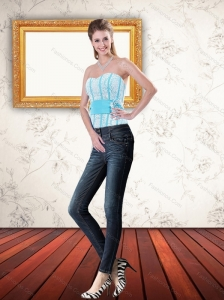 New Style Light Blue Corset with Ruffled Layers and Waistband