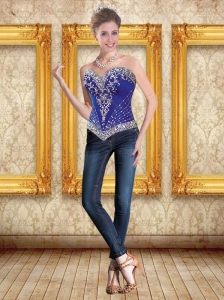 New Style Royal Blue Sweetheart Corset with Beading for 2015