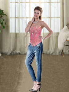 2015 Wonderful Rose Pink Strapless Beading Corset with Embroidery