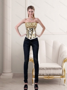 Luxurious White Strapless Leopard Printed Corset for 2015