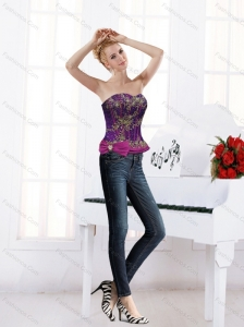New Style Sweetheart Embelished Multi Color Corset with Bowknot