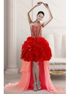 2015 Beautiful High Low Prom Dresses with Beading and Ruffles