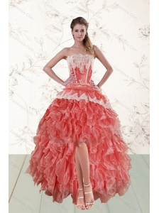 2015 Perfect High Low Ruffled Strapless Prom Dresses in Watermelon