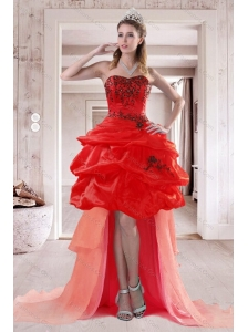 2015 Pretty Sweetheart Prom Dresses with Embroidery and Ruffles