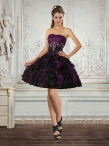 Ball Gown Strapless Multi Color Prom Dresses with Ruffles and Embroidery