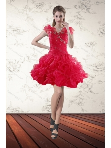 Beading Sweetheart Red 2015 Prom Gown with Ruffled Layers