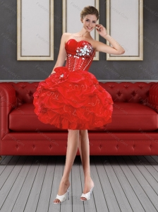 Beautiful Sweetheart Red Prom Dresses with Beading and Pick Ups