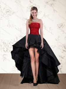 Cheap High Low Strapless Beading Prom Dresses in Red and Black