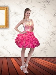 Cute Sweetheart Short Hot Pink Prom Dresses with Ruffls and Beading