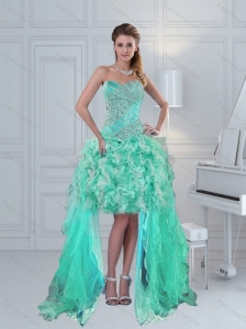 Pretty High Low Sweetheart Ruffles and Beading Prom Dress in Apple Green