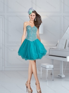 Turquoise Sweetheart Beading Prom Dresses for 2015