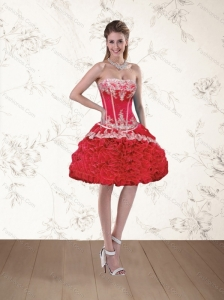 Watermelon Red Strapless Appliques Prom Dresses with Ruffled Layers