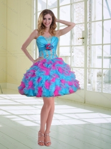 2015 Ball Gown Strapless Ruffled Prom Dresses with Hand Made Flower