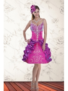 2015 Beautiful Ball Gown Straps Multi Color Prom Dresses with Embroidery