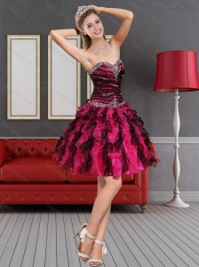2015 Multi Color Prom Dress with Beading and Ruffled Layers