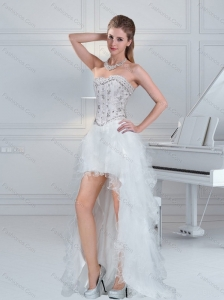 2015 Ball Gown Sweetheart White Prom Dresses with Ruffles and Beading