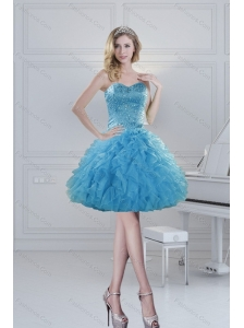 2015 Prefect Ball Gown Baby Blue Beading Prom Dresses for Spring