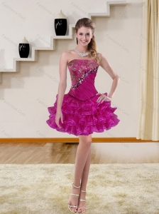 Beautiful Puffy Beading Multi Color Prom Dresses in Fuchsia for 2015