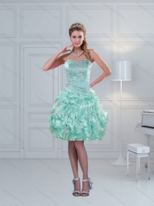 Perfect Ruffled Sweetheart Beading Prom Dresses in Apple Green