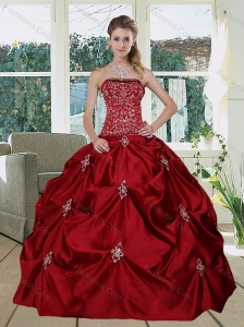 Wine Red  Pretty Strapless 2015 Quinceanera Gown with Embroidery and Pick Ups