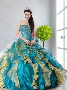 2015 Beautiful Strapless Sweet 15 Dress with Beading and Ruffles