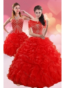2015 Brand New Quinceanera Dresses With Beading and Ruffles