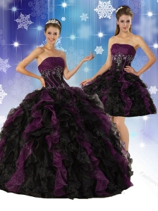 2015 Elegant Strapless Multi Color Quinceanera Dress with Ruffles and Embroidery