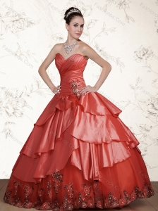2015 Fashionable Watermelon Sweetheart Quinceanera Dresses with Beading