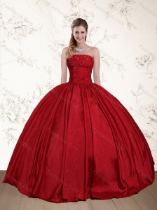 2015 Perfect Strapless Beaded Floor Length Quinceanera Dress in Red