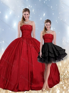 2015 Strapless Beaded Quinceanera Dress in Red and Black