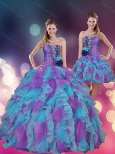 2015 Strapless Multi Color Quinceanera Dress with Beading and Ruffles