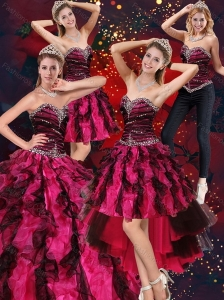2015 Sweetheart Beaded and Ruffled Sweet 15 Dress in Multi Color