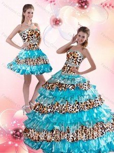 Elegant Leopard Printed Sweetheart Brush Train Quinceanera Dresses in Aqua Blue