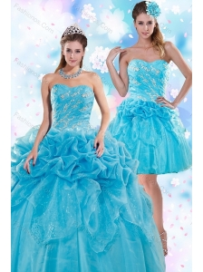 Exquisite Appliques and Pick Ups Teal Quinceanera Dresses for 2015