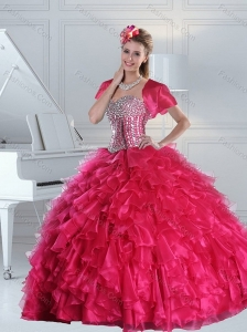 Hot Pink Quince Dress with Beading and Ruffles for 2015